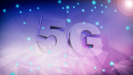 5G High speed network connection. 5th generation new mobile wireless internet wifi against abstract digital background. 3d illustration