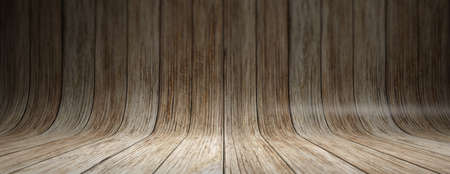 Old grungy curved wooden planks texture background, banner. Wooden wall and floor background for presentation