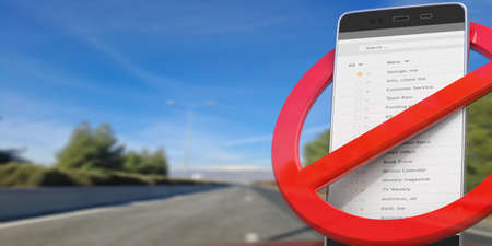 No dialing, no texting while driving. Red crossed out sign and smartphone on blur asphalt road, copy space. 3d illustration