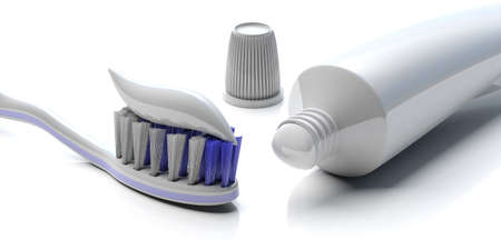 Dental care, hygiene. Tooth paste on a toothbrush and blank toothpaste tube on white background, closeup view . 3d illustration Banco de Imagens