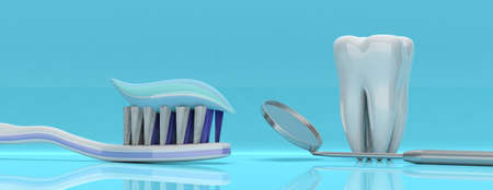 Dental care, hygiene. Tooth paste on a toothbrush, tooth model and a dentist mirror, blue background, banner. 3d illustration