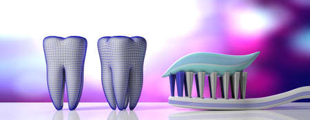 Dental care, hygiene. Tooth paste on a toothbrush, tooth models and protective shield, purple white background, banner. 3d illustration
