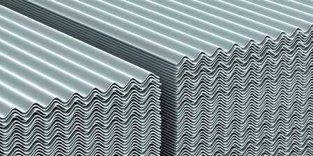 Asbestos roof.  Asbestos cement roofing sheets, corrugated panels, stacked. 3d illustration