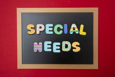 School special needs concept. Black chalkboard with wooden frame, text special needs in colorful letters, red wall background