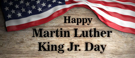 Happy Martin Luther King jr day. United states of America flag and text on wooden background. 3d illustration