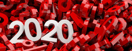 2020 New year. White 2020 digits on red numbers background, banner, copy space. 3d illustration Standard-Bild - 117566210