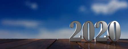 New year 2020 digits on wooden deck floor, blue sky at sunrise, banner, copy space. 3d illustration Standard-Bild - 117566223