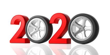 2020 e auto. Nuovo anno 2020 con ruota auto isolata su sfondo bianco. illustrazione 3D Archivio Fotografico