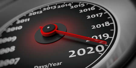 2020 new year and car. Car speedometer gauge closeup detail. 3d illustration