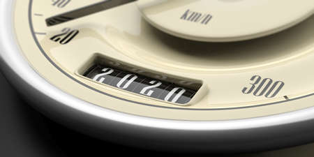 2020 new year and car. Vintage car odometer gauge closeup detail on black background. 3d illustration 版權商用圖片