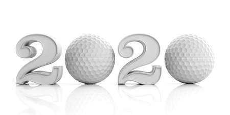 Golf 2020. New year 2020 with golf ball isolated on white background. 3d illustration 写真素材