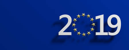European Union parliament 2019 election. White 2019 number with a golden stars circle on blue background, banner. 3d illustration