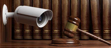 Crime, judge and security. Surveillance camera CCTV on blur lawyer office background. 3d illustration