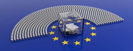 Élection européenne. Sièges du parlement de l'Union européenne et une boîte de vote sur fond de drapeau de l'UE, bannière. illustration 3D Banque d'images