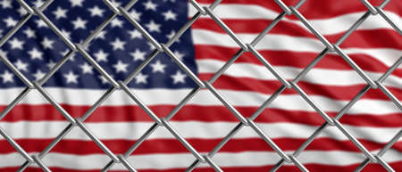 USA and migration border fence. US of America flag behind a steel wire mesh. 3d illustration