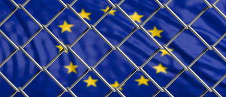 EU and migration border fence. European Union flag behind a steel wire mesh. 3d illustration Stock Photo