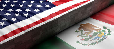 USA and Mexico split. Border wall between US of America and Mexico flags. 3d illustration