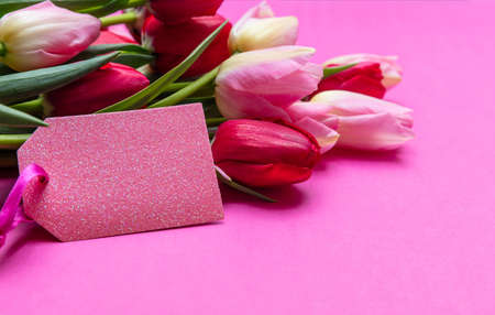 Mothers, womens day concept. Tulips bouquet and blank tag on bright pink background, copy space, closeup view Stock Photo