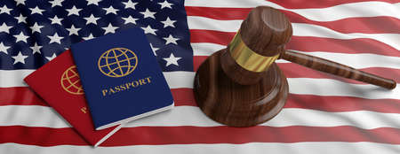 USA Immigration law. Two passports and a judge gavel on US of America flag background, banner. 3d illustration