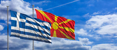 Greece and North Macedonia relations. Waving flags on blue sky background. 3d illustration