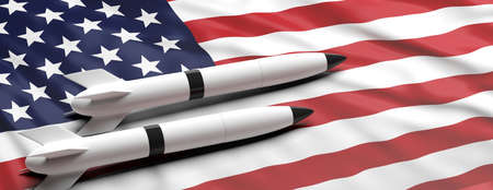 USA nuclear weapons. Rockets, missiles on American flag background, banner, copy space. 3d illustration
