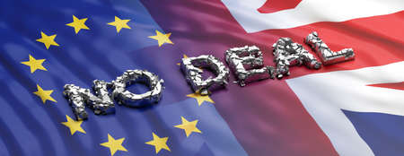 No deal, brexit. No deal text, broken letters on UK and EU flags background, banner. 3d illustration