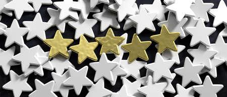 5 stars ranking, customer feedback concept. Five golden stars and white stars on black background. 3d illustration