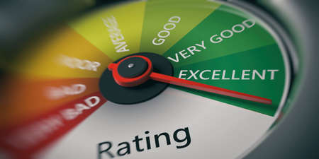 Rating, customer feedback concept. Car speedometer, excellent rating close up. 3d illustration Stok Fotoğraf