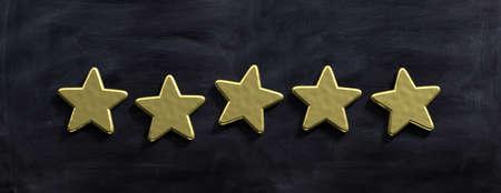 5 stars ranking, customer feedback concept. Five golden stars isolated on blackboard background, banner. 3d illustration
