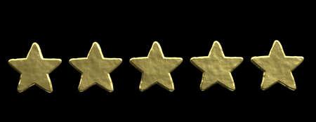 5 stars ranking, customer feedback concept. Five golden stars isolated on black background, banner. 3d illustration Stok Fotoğraf