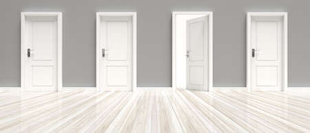 Open interior door and closed doors. Three closed and one open door on grey wall and white wooden floor background, banner. 3d illustration 스톡 콘텐츠