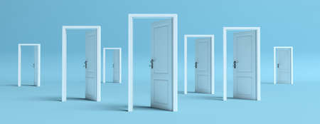 Business open opportunities concept, White doors opened on blue pastel background, banner. 3d illustration