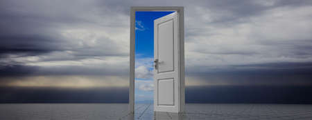 Passage to hope. Open door on dark sky background, clear sky view out of the door opening, banner, copy space. 3d illustration Reklamní fotografie