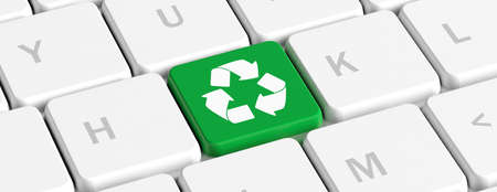 Recycling concept. Green key button with recycle sign on a computer keyboard, banner. 3d illustration