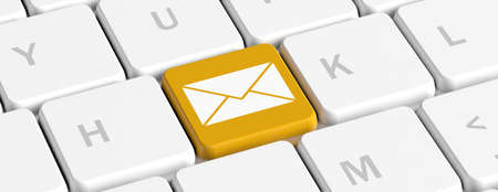Electronic mail concept. Yellow key button with envelope on a computer keyboard, banner. 3d illustration Reklamní fotografie