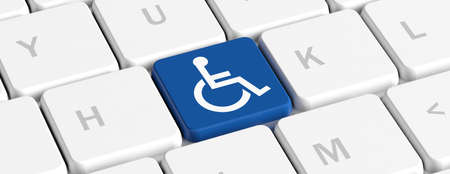 Disability, handicapped concept. Blue key button with wheelchair sign on a computer keyboard, banner. 3d illustration