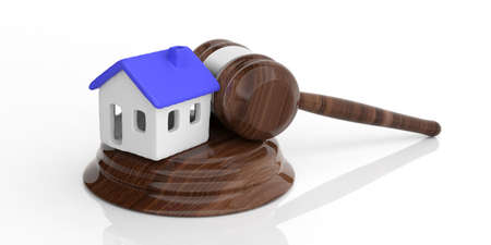 House auction concept. House model with blue color roof and a judge gavel isolated against white background. 3d illustration