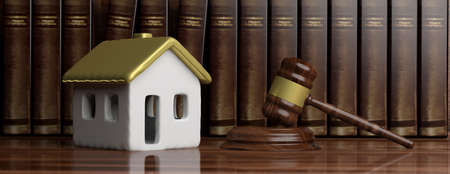 House and law. House model with gold roof and a judge gavel, lawyer office background, banner. 3d illustration