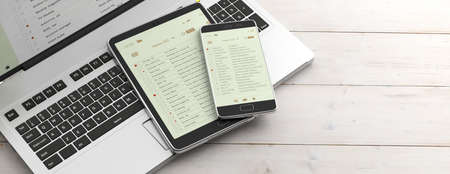 Email and electronic devices. Email lists on smartphone and tablet screens, computer keyboard and office desk, banner. 3d illustration Stock Photo