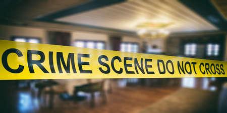 Crime scene. Warning yellow tape, text crime scene do not cross, dark blur room background. 3d illustration Standard-Bild - 120862126