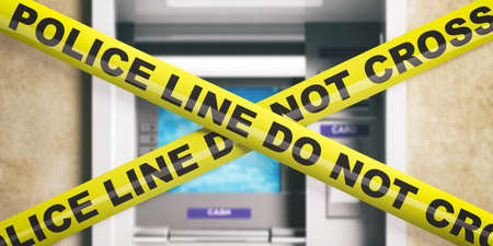 Police line on an ATM. Warning yellow tape, text police line do not cross, blur ATM machine background. 3d illustration Фото со стока