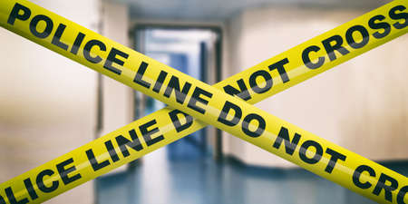 Police line in office building. Warning yellow tape, text police line do not cross, blur business interior background. 3d illustration Фото со стока