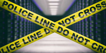 Cyber crime. Warning yellow tape, text police line do not cross, blur data center interior background. 3d illustration