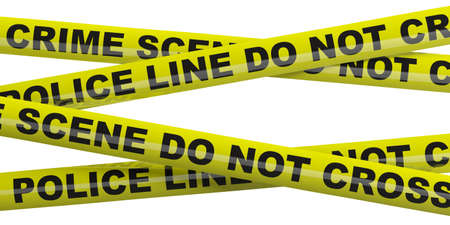 Crime scene, police line. Warning yellow tape, text do not cross isolated cutout against white background. 3d illustration
