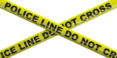 Police line. Warning yellow tape, text police line do not cross isolated cutout against white background. 3d illustration