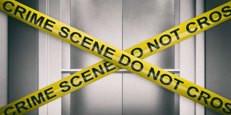 Crime scene, elevator door. Warning yellow tape, text crime scene do not cross, blur open elevator door background. 3d illustration