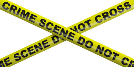 Crime scene. Warning yellow tape, text crime scene do not cross isolated cutout against white background. 3d illustration Standard-Bild - 120862139