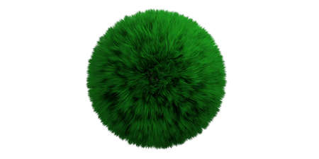 Save planet earth concept. Green color grass hair globe isolated cut out against white background, clipping path. 3d illustration