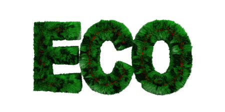 ECO friendly concep. Green color grass hair text eco isolated cut out against white background, clipping path. 3d illustration Zdjęcie Seryjne