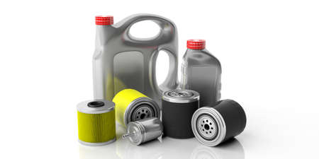 Car service spare parts. Engine oil and fuel filters and motor oil canisters isolated against white background. 3d illustration Foto de archivo - 123352119